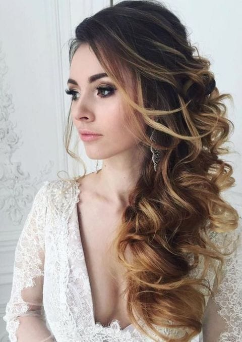 side swept wedding look