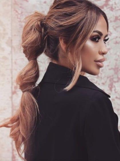 three puffed ponytail