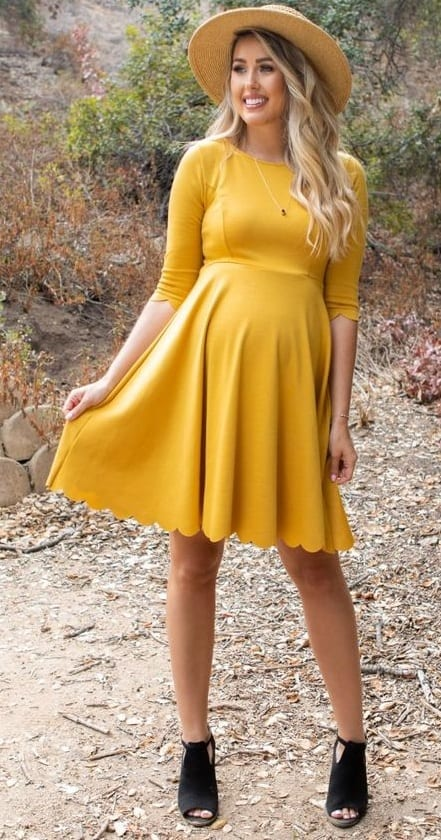 Mustard-Yellow-Short-Dress-and-Brown-Hat