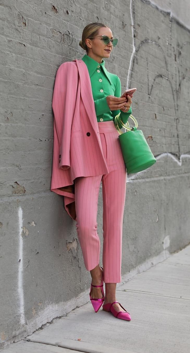 Pink-Suit-Green-shirt-unique-Suit-Outfit