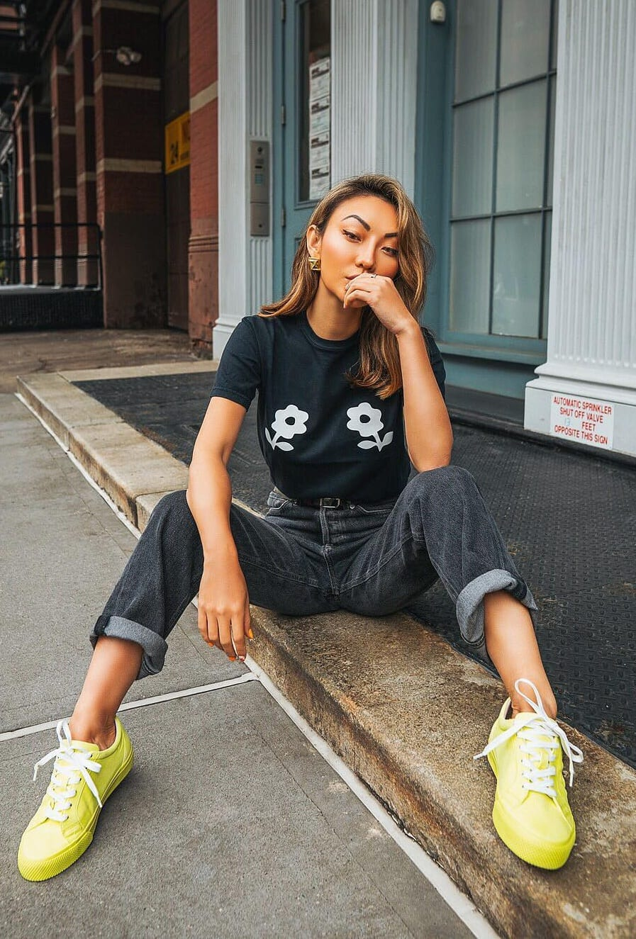 Green-Eye-Poping-Sneakers-and-Casual-Jeans-T-shirt-Outfit