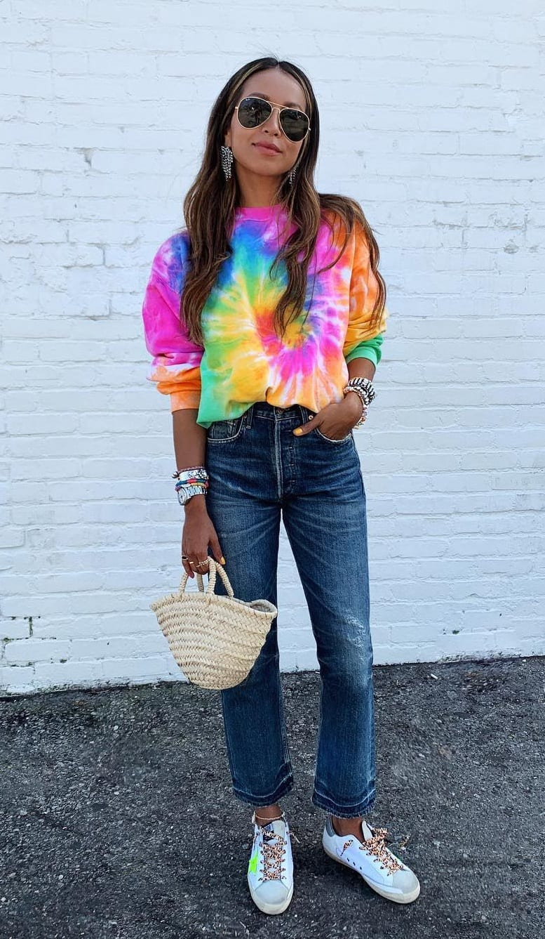Sneakers-with-Colorful-Rainbow-T-Shirt-and-Blue-Jeans-Outfit