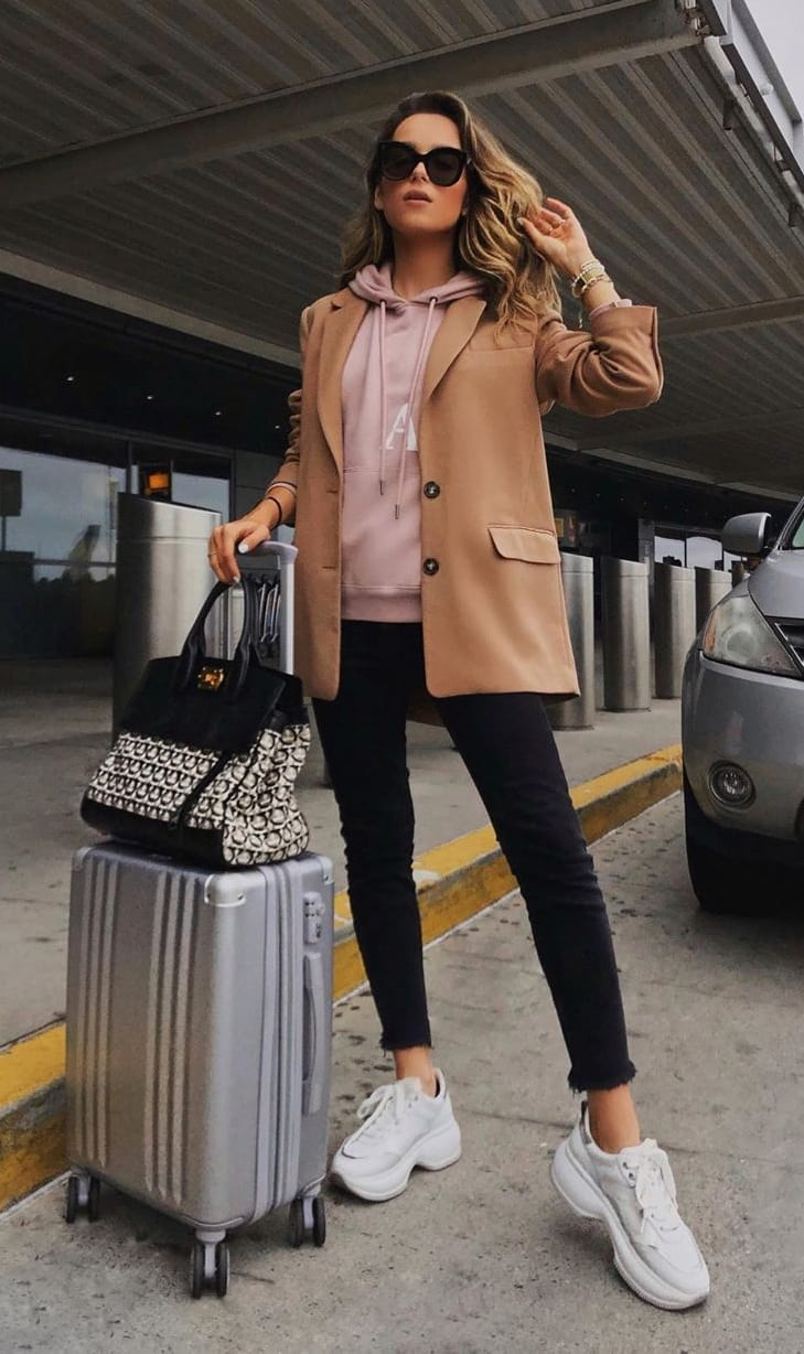 White-Shoes-Pink-Hoodie-Brown-Overcoat-for-the-Airport-Look
