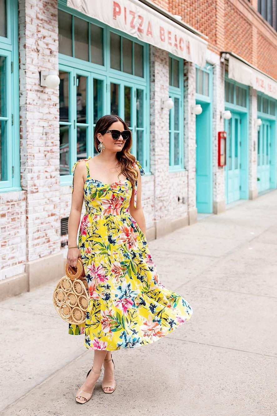 Yellow Floral Dress Outfit