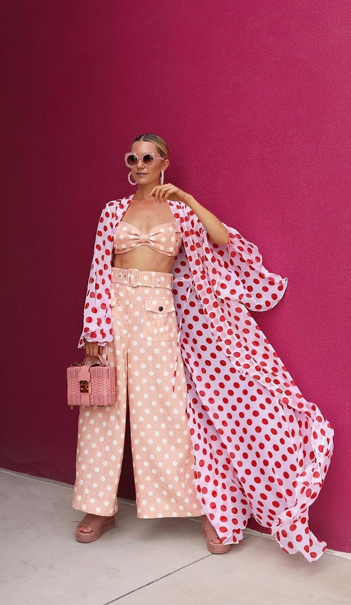 Stylish Polka Dot Top and Polka Dot Pants Outfit for 2020