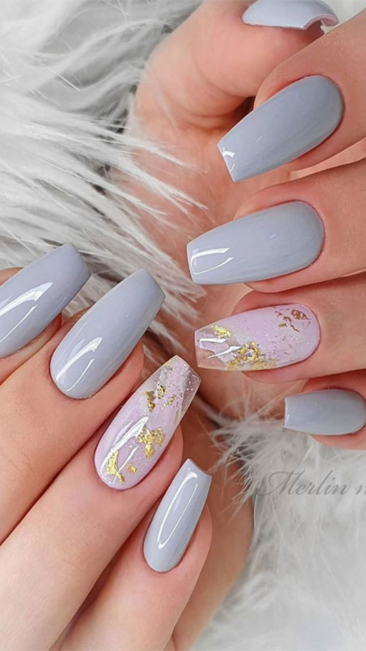 Pretty Pastel Shades With Marble Nail Art Design