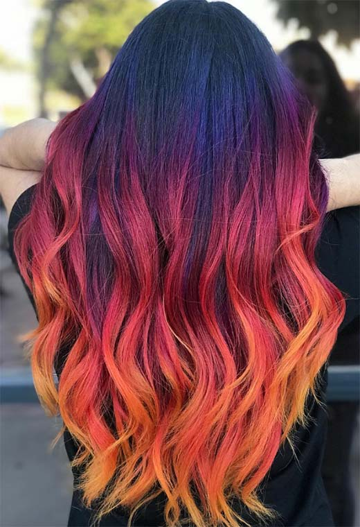 Sunset Hair Color Trends for Women 2021