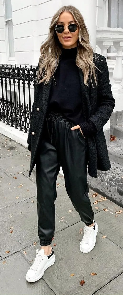 Turtleneck- Coat-Leather Pants-White Sneakers-Winter-Outfit