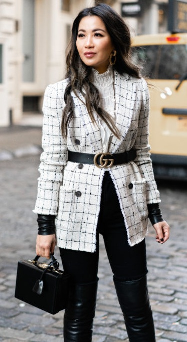 Tweed Jacket and Leather Pants Styled With Gucci Belt and Classy Bag
