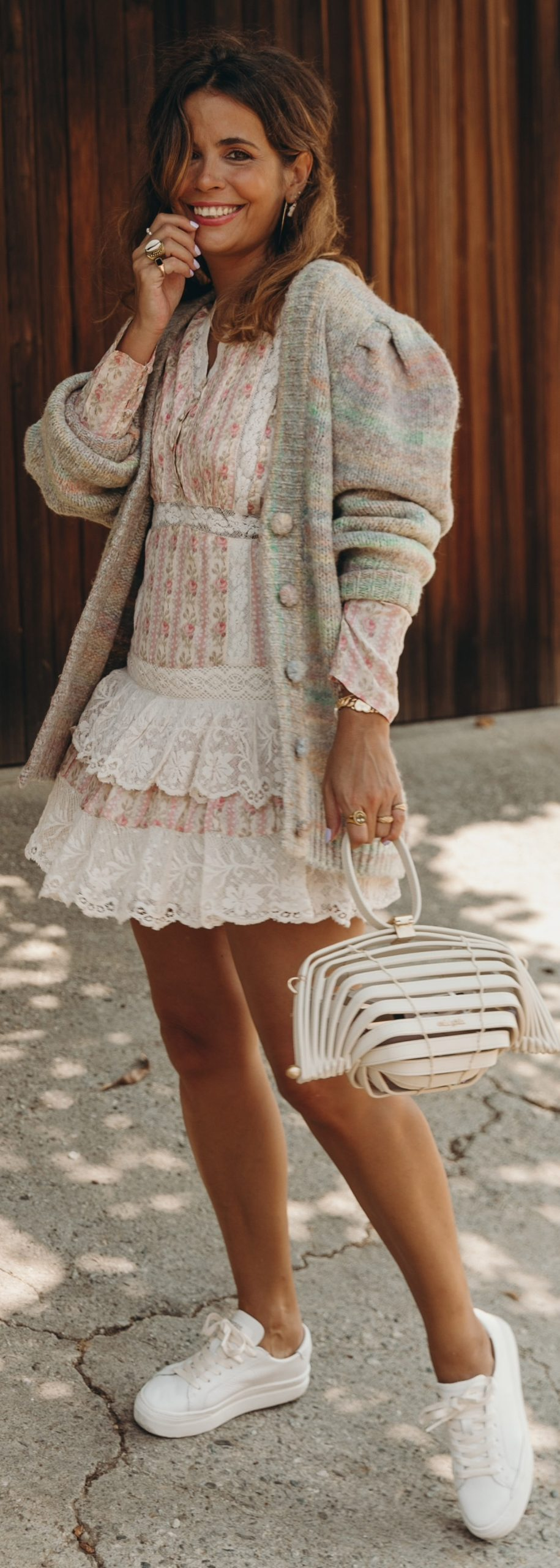 Vintage Fall Outfit With Pretty Dress Styled with a cardigan