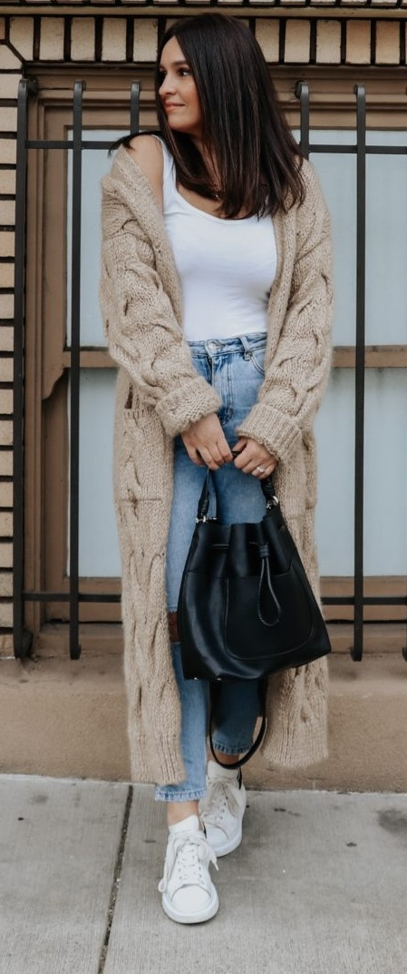 White Tee and Blue Denims Paired with a comfy knit coat
