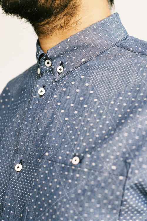 Casual denim shirt for men printed