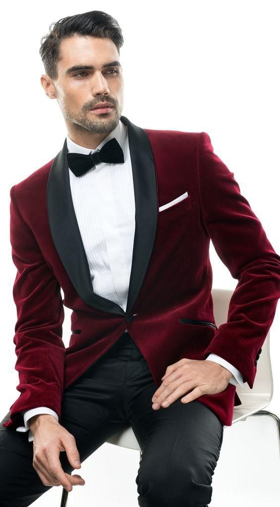 burgundy suit jacket tux