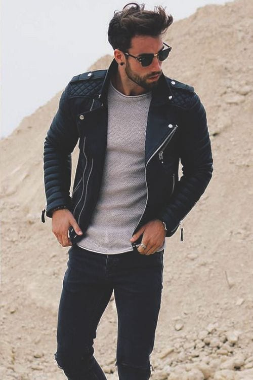 black leather jacket look for men