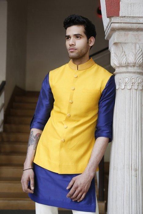 kurta with waistcoat diwali dressing style