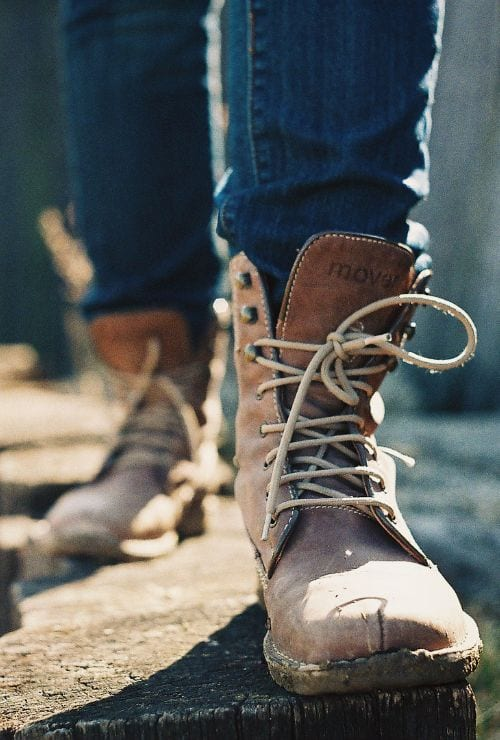 hiking boots with denim jeans