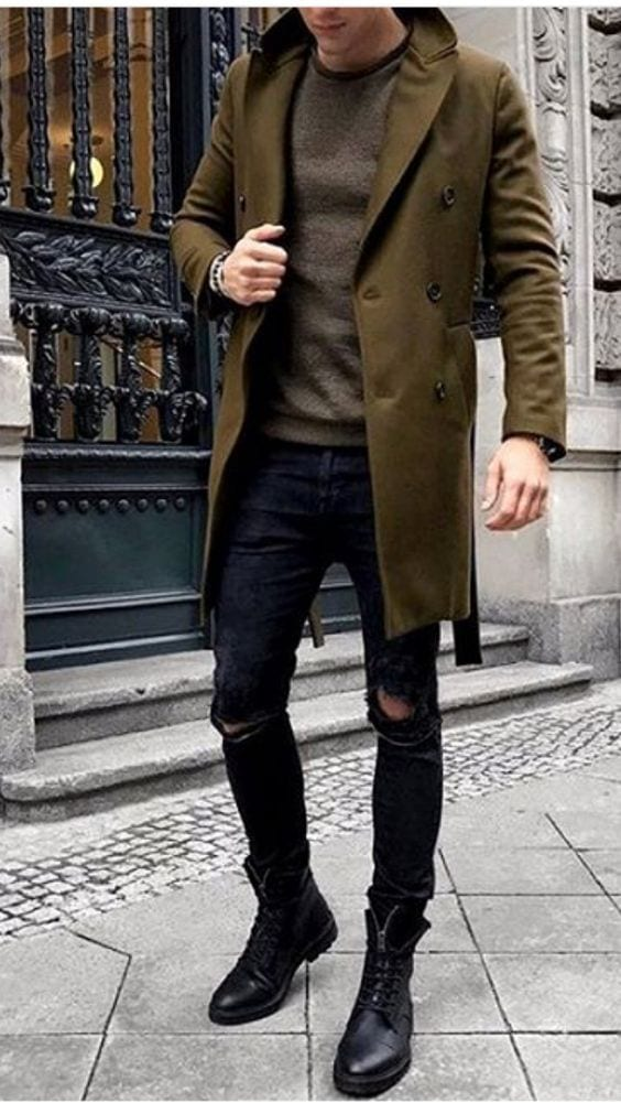 winter outfit ideas men - boots, overcoat denim