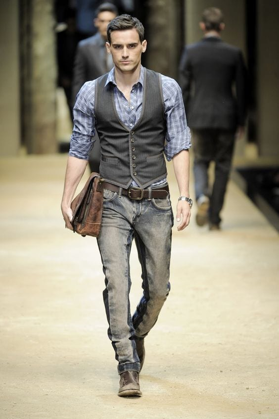 jeans with waistcoat outfit
