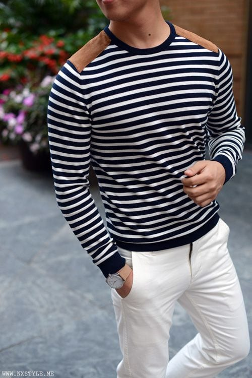 stripped crew neck sweater