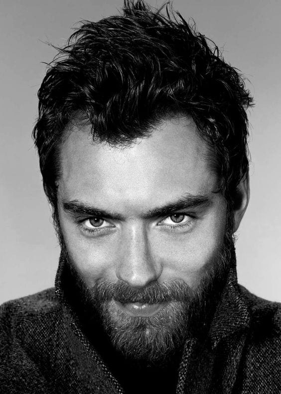 jude law oval face shape beard style