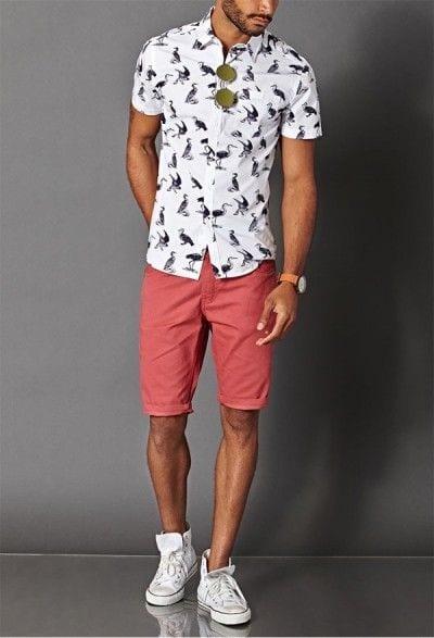printed shirt with salmon shorts