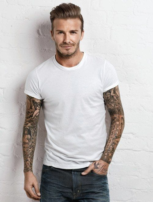 david beckham white tshirt look