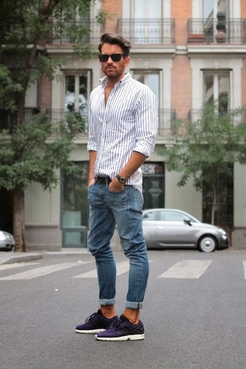 vertical strip shirt with jeans