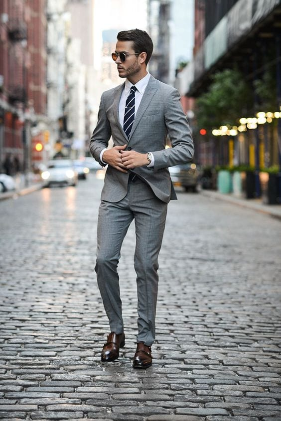 medium grey suit for men