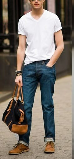 casual t shirts with blue denim