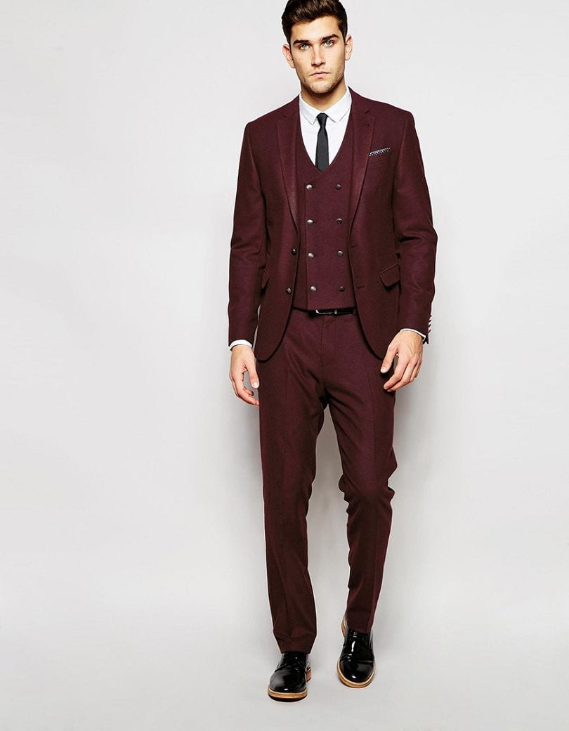What is the perfect accessory combo for a burgundy suit for Black suit burgundy shirt