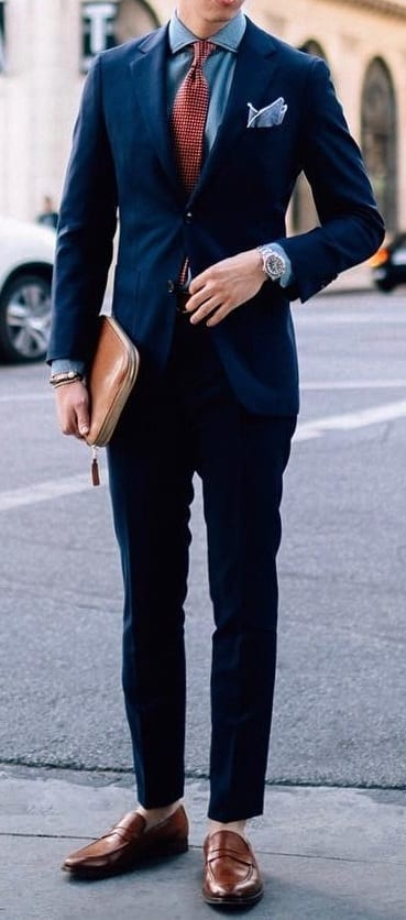 dashing navy blue suit With red tie \u0026 Koafers ⋆ Best