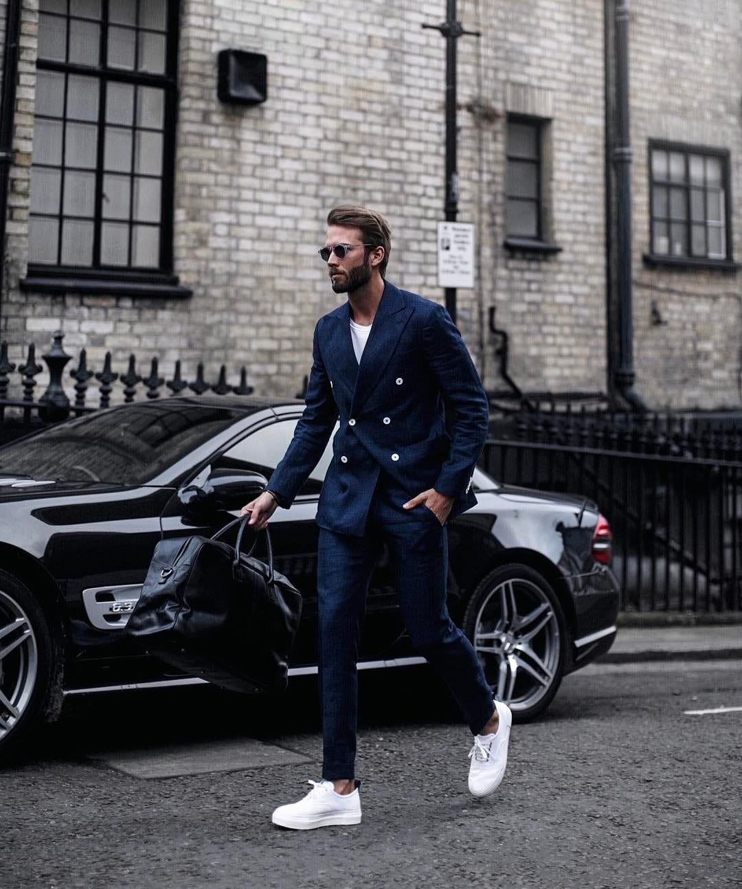navy Blue Double breasted Suit withy White Sneakers for men