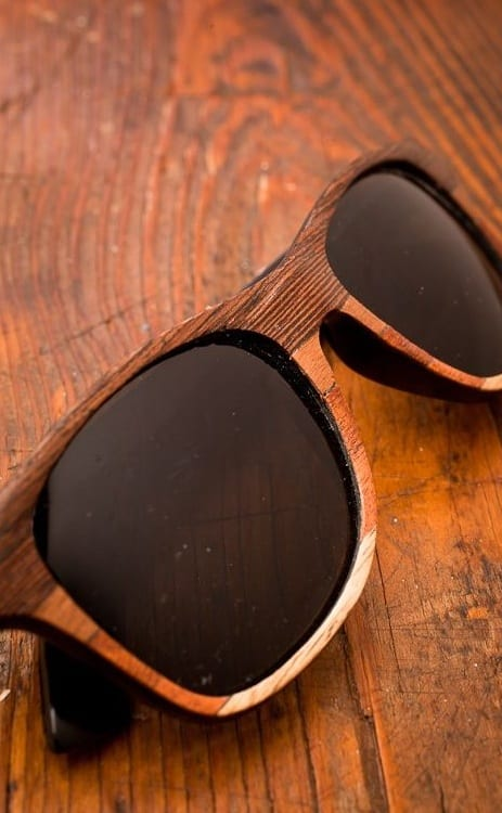 coloured wooden frame sunglasses