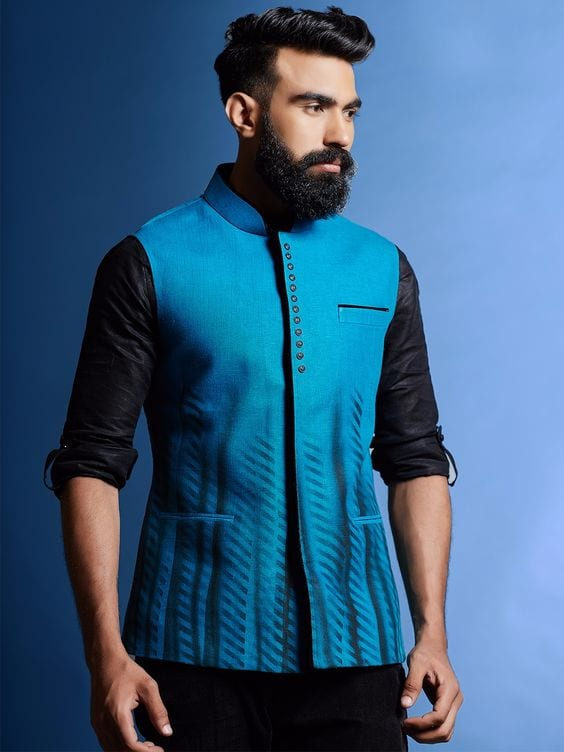 black kurta with blue nehru jacket