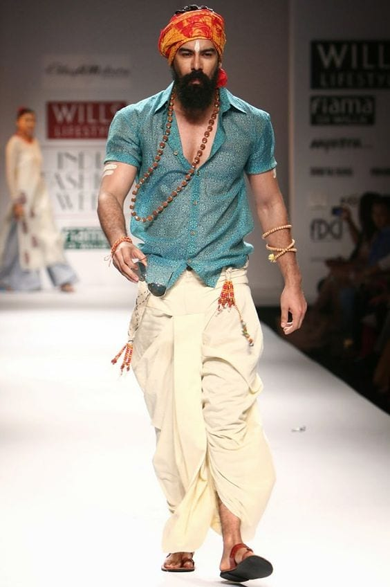 indo-western shirt and dhoti