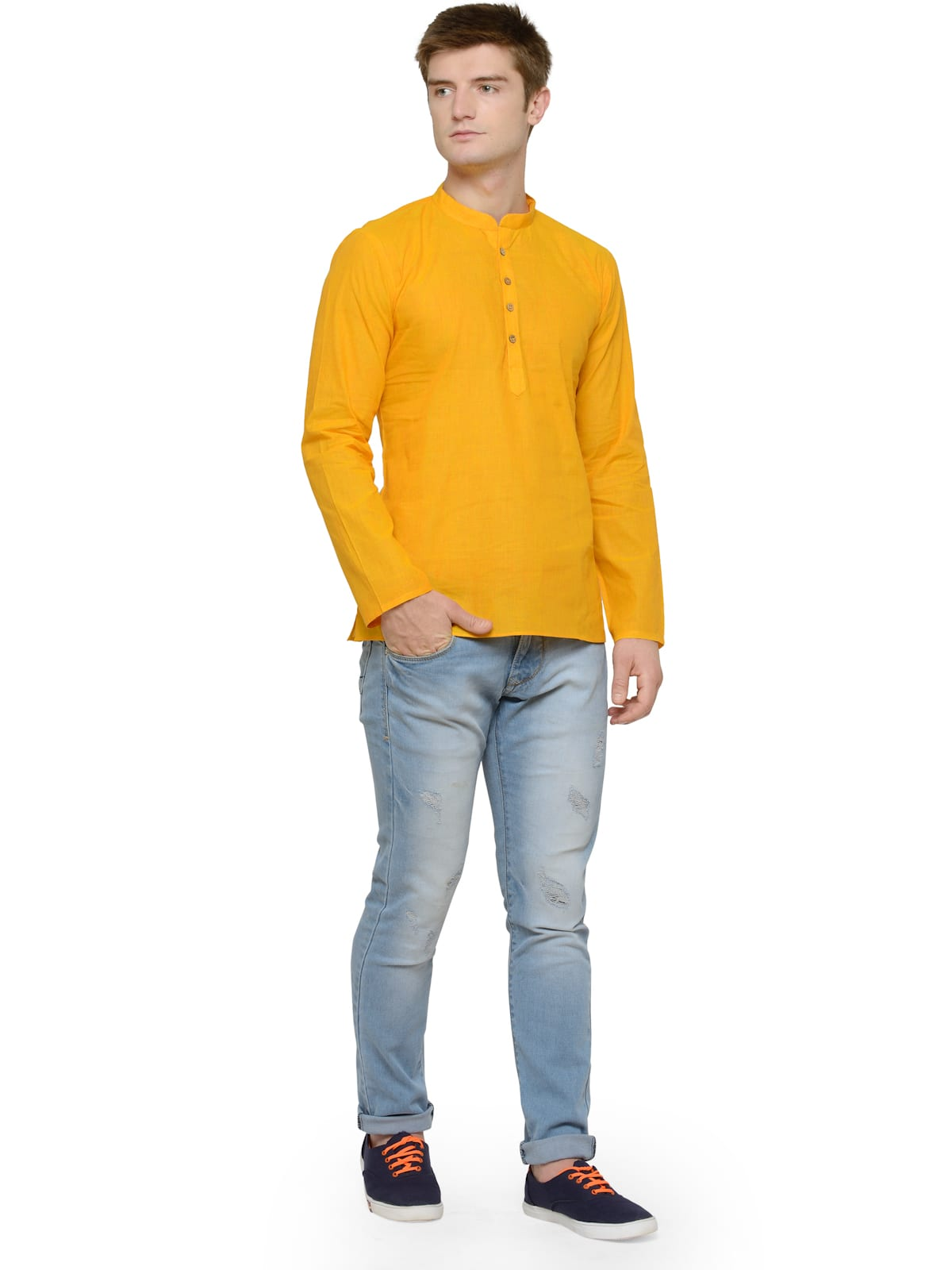 kurta with denim for haldi
