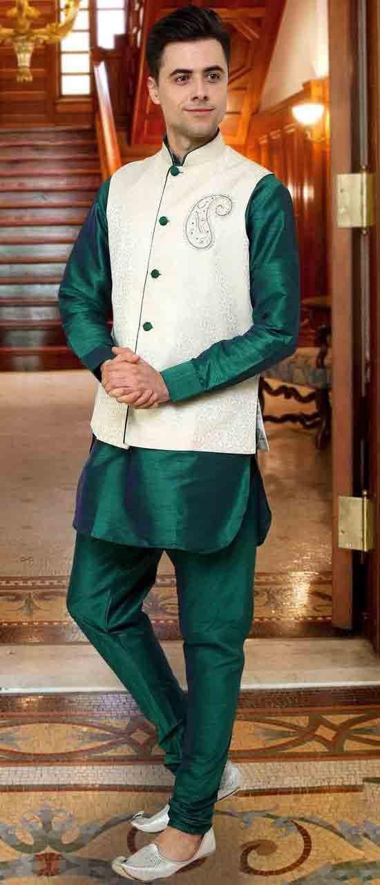 nehru jacket with green kurta pajama for mehndi