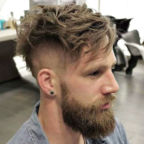messy undercut with beard style