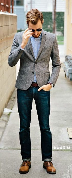 Grey blazer with dark jeans
