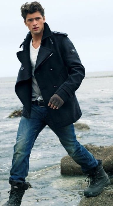 PEA COAT, WHITE TEE, DENIM