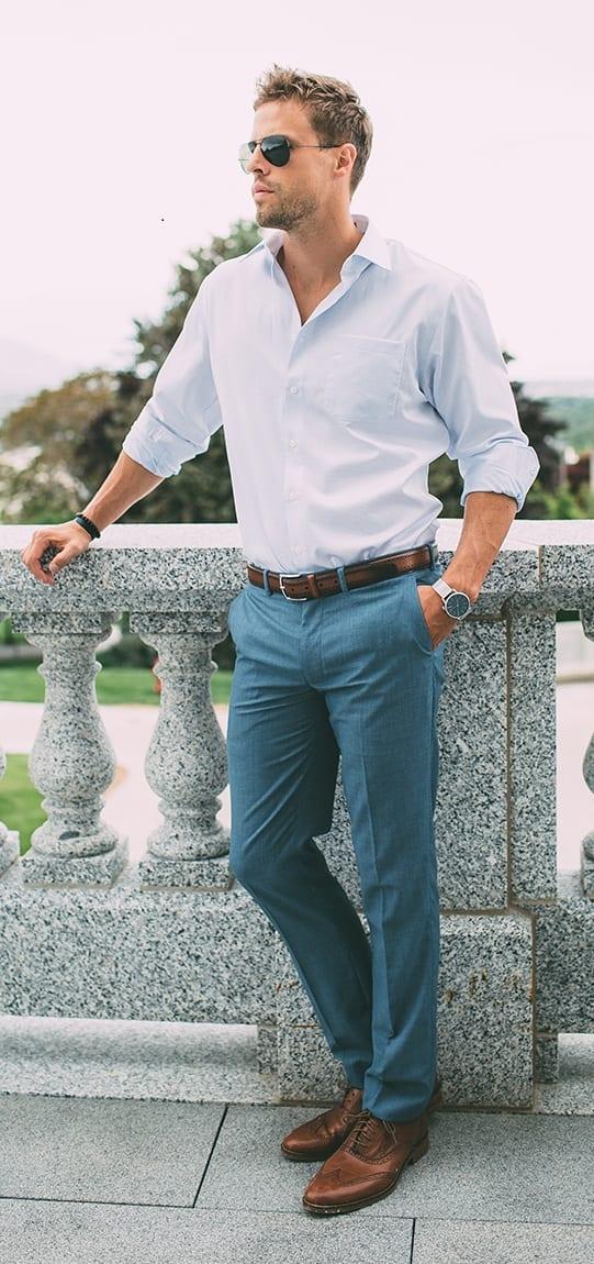 Trouser + Dress Shirt + Formal Shoes-Minimalist Wardrobe