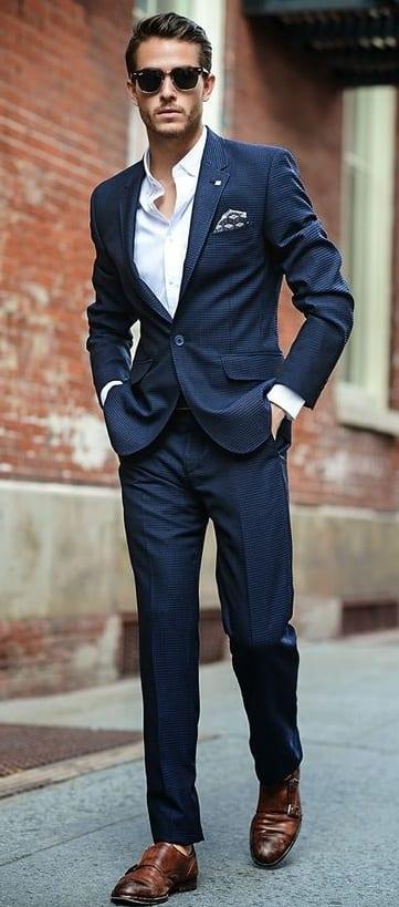 adam navy blue suit