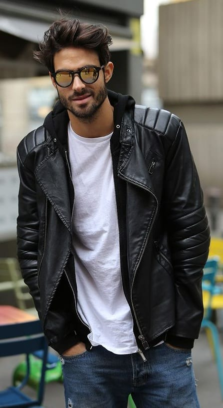 black leather jacket - young look