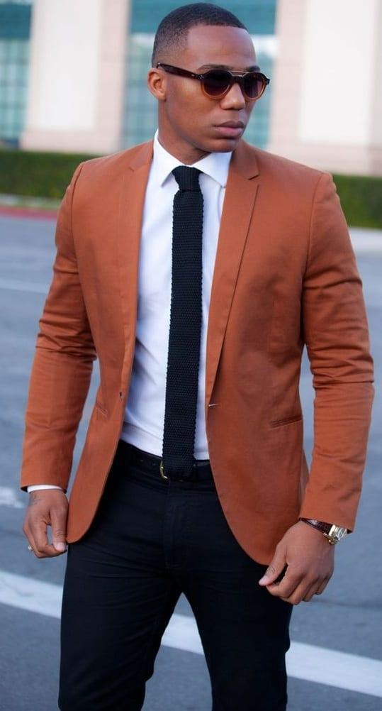black men rust blazer