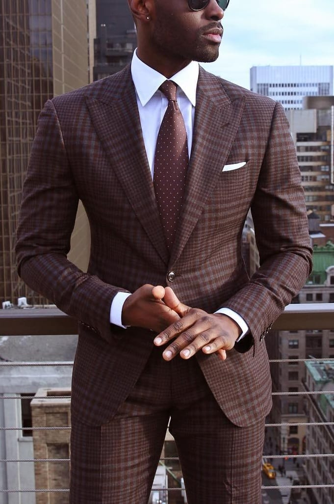 brown outfit -dark skin tone men style guide