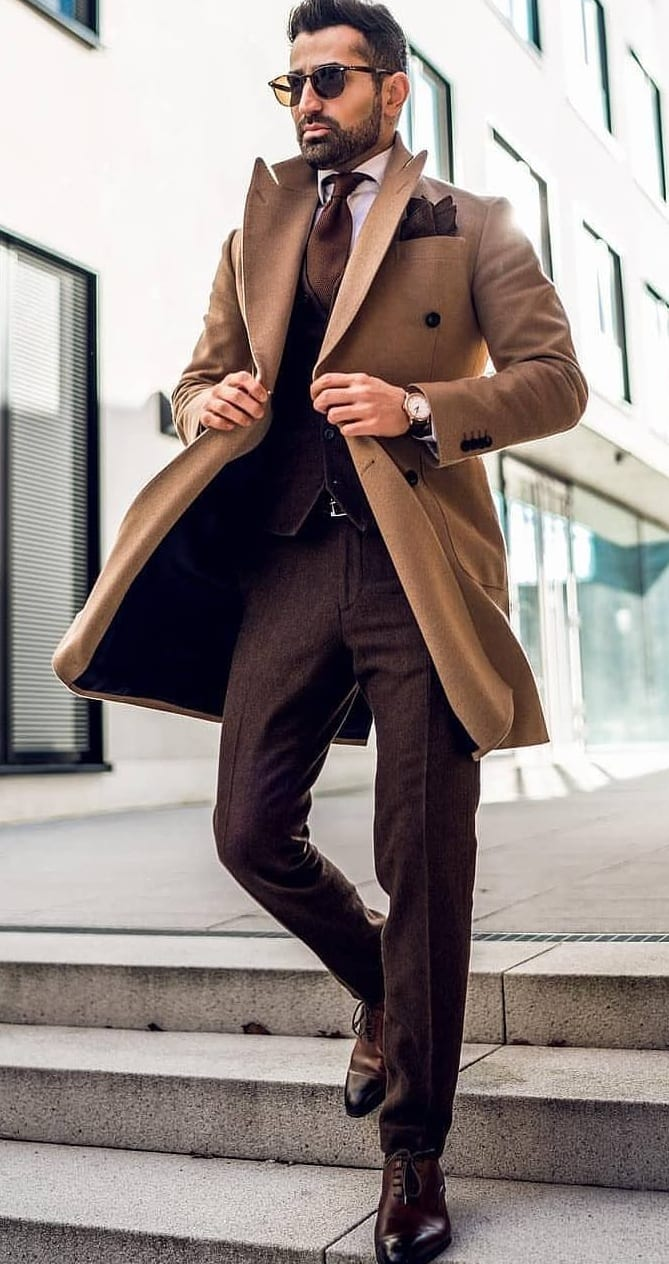 brown suit with brown trench coat