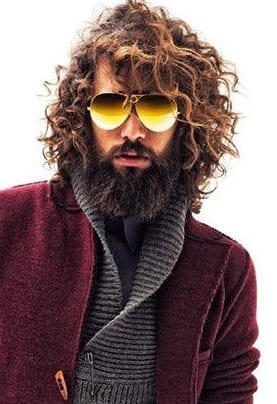 curly side part with beard