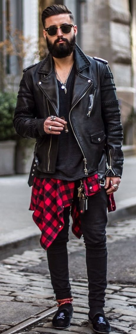 flannel shirt around the waist, leather jacket, beard