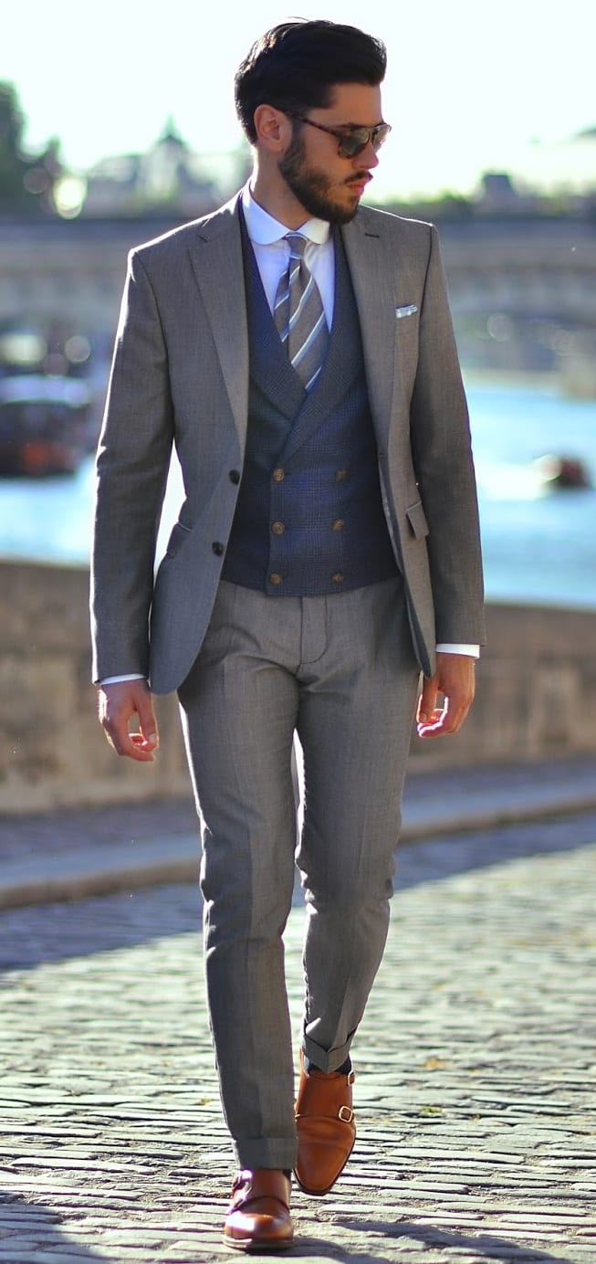 grey suit with blue double breasted waistcoat