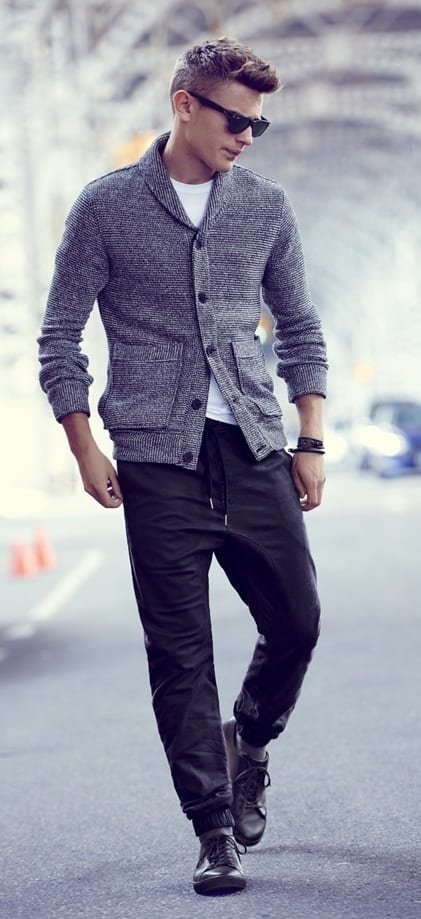 joggers and cardigan